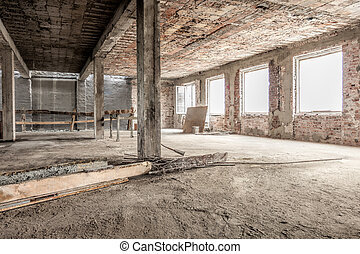 Empty building - Interior of an empty old house structure