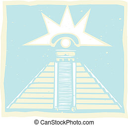 Mayan Pyramid with Venus Eye Glyph