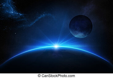 Fantasy Earth and Moon with sunrise - Fantasy Earth and Moon...