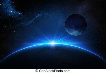 fantasía, tierra, luna, salida del sol