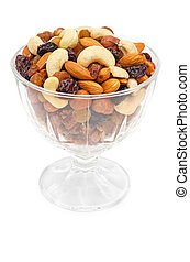 Mixed nuts and dry fruits in glass bowl