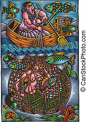 man is fishing - illustrated man is fishing as interesting...