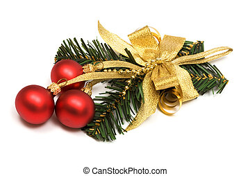 Christmas ornament with spheres on a white background