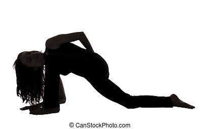 mujer, lagarto, postura, variación, yoga, silueta