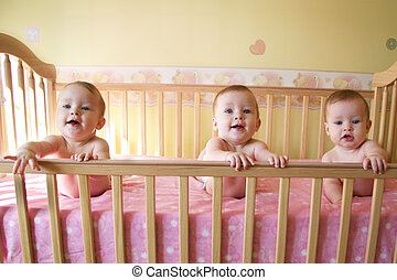 Three Baby Girls - (SAME MODEL) - Three Little Baby Girls in...