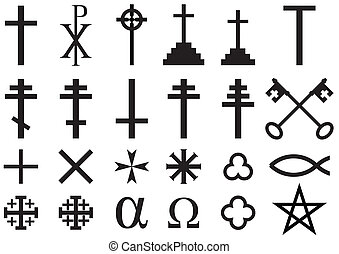 Christian Religious Symbols - Set of Christian Religious...