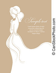 Wedding card with beautiful bride on gold background vector illu
