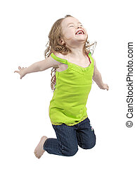 Adorable little girl jumping in air isolated on white...