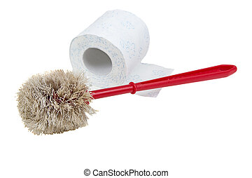Toilet brush and paper