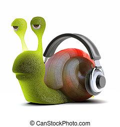 3d Snail headphones - 3d render of a snail listening to...