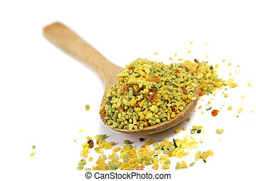 Vegetables and spices dried condiment isolated over white...