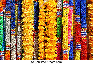 sacred flower garlands - beautiful brightly coloured sacred...