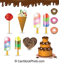 collection of sweets - colorful illustration with collection...