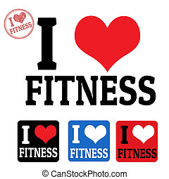 I love fitness sign and labels
