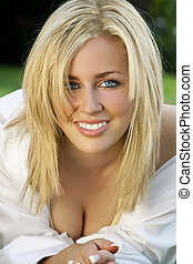 Natural Female Beauty - A beautiful blond haired blue eyed...