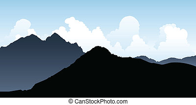 Andes Mountains - Silhouette of rocky mountain peaks in the...