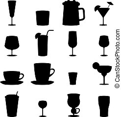 Black and white drink glass icons isolated on white...