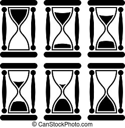 Black and white sandglass icon illustrating time passing.