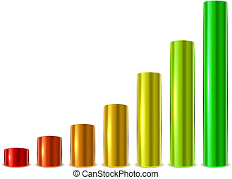 Cylinder glossy metallic graph bars template