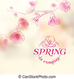 Spring is coming - cover. Vector illustration.