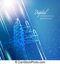 Blue electric power transmission tower. - Electric power...