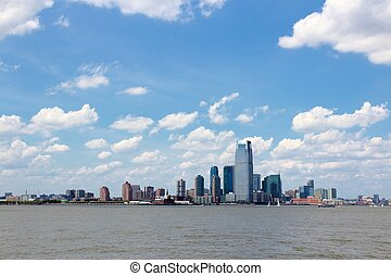 New Jersey, United States - NJ downtown skyline with Hudson...