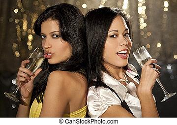 Women Clubbing Fun - Two beautiful young women enjoying...