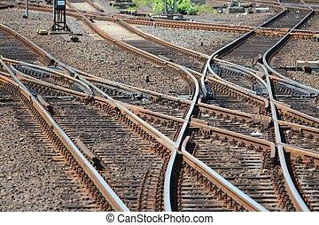 Railroad switch - Railroad turnout point in Dusseldorf,...