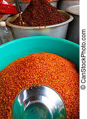 Red chilli powder - Big mounds of hot, spicy red chilli...