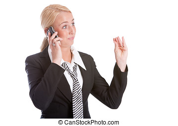 Businesswoman making a gesture while talking - Businesswoman...