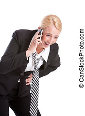 Hilarious phonecall - Business woman on the phone laughing...