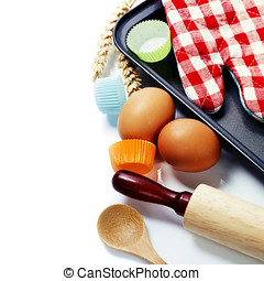Cooking and baking concept Ingredients and kitchen tools