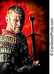 ancient - Portrait of a courageous ancient warrior in armor...