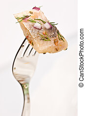 herring - Macro picture of fillet herring with vegetables on...