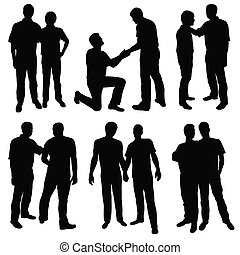 gay men - set of black silhouettes happy gay couples