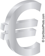 Euro Silver Currency Sign Isolated On White