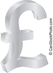 British Pound Silver Currency Sign Isolated On White