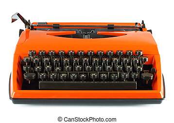 Vintage typing machine - Vintage typing machine on white...
