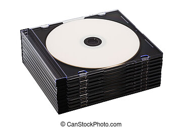 Disk cd in boxes on a white background