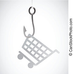 fishing a shopping cart. retail concept