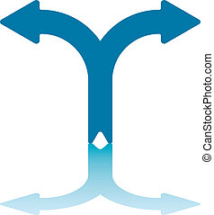 Left/Right Arrows - Two Splitting Blue Arrows With...