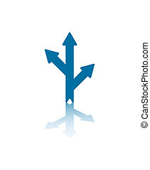Three Way Arrows - Two Blue Arrows Splitting From Central...