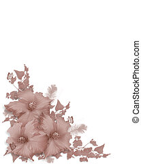 Pink Hibiscus invitation corner - Image and illustration...