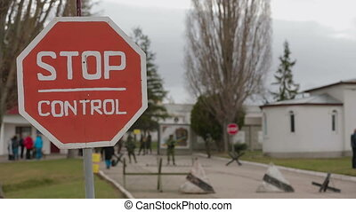 Stop control sign Close-up
