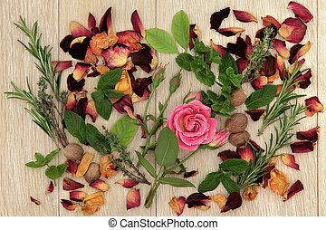 Love Potion Ingredients - Herb and rose flower ingredients...