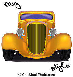 My car style - Front view of yellow hot rod with the...