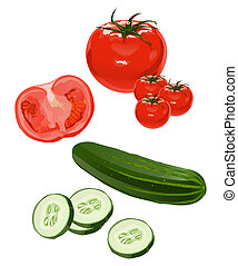 Vegetables - Clip-arts of tomato and cucumber