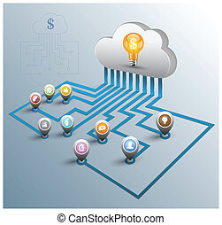 Cloud computing 3D concept