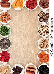 Superfood Border - Healthy superfood abstract border over...