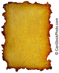 grunge mint yellow paper with burned edges isolated over...